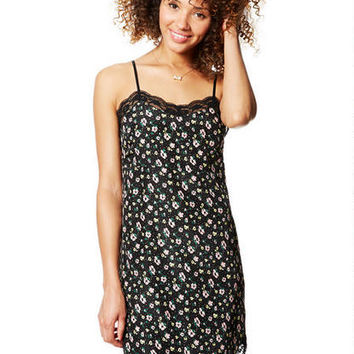 Floral Slip Dress - Black Multi