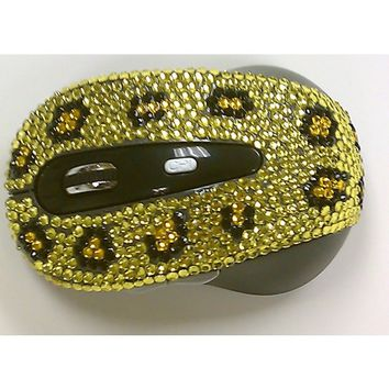 Wireless USB Optical Yellow Leopard Crystal Computer Mouse