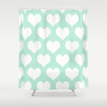 Hearts of Love Mint Green Shower Curtain by BeautifulHomes | Society6