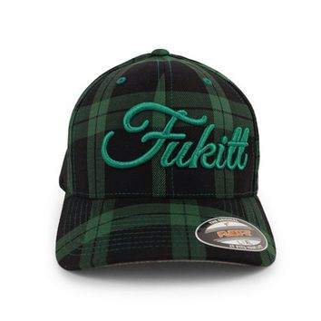 Vibe Script Flexfit Glen Check Hat by Fukitt Clothing (Black/ Green)