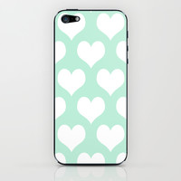Hearts of Love Mint Green iPhone & iPod Skin by BeautifulHomes | Society6