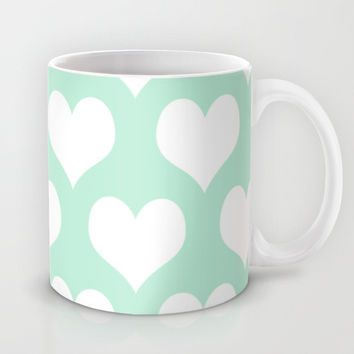 Hearts of Love Mint Green Mug by BeautifulHomes | Society6