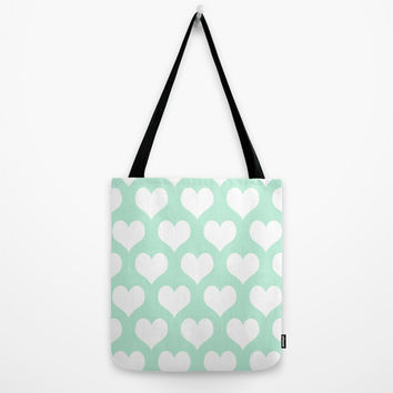Hearts of Love Mint Green Tote Bag by BeautifulHomes | Society6