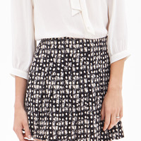 Abstract Print Pleated Skirt