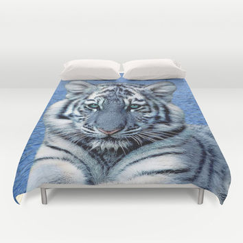 Blue Maltese Tiger Duvet Cover by Erika Kaisersot