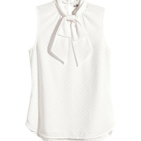 H&M - Jacquard-weave Blouse - White - Ladies