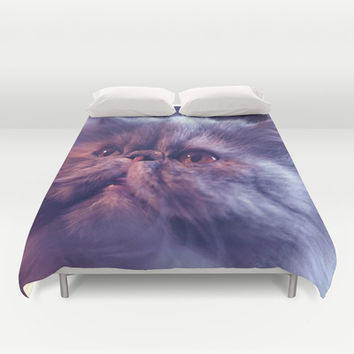 Grey Cat Duvet Cover by Erika Kaisersot