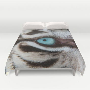 WHITE TIGER BEAUTY Duvet Cover by Catspaws | Society6