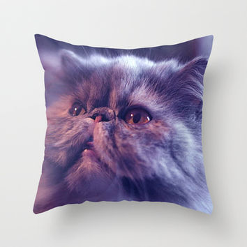 Grey Cat Throw Pillow by Erika Kaisersot