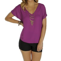 Dark Purple Oversized Dolman Top