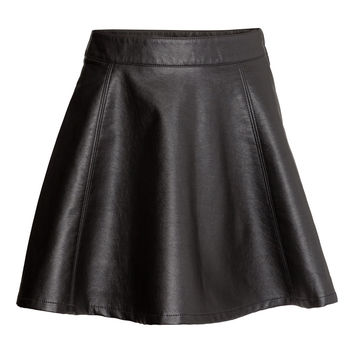 H&M - Imitation Leather Skirt - Black - Ladies