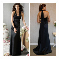 Column Halter Sleeveless Floor-Length Satin & Chiffon Bridesmaid Dress