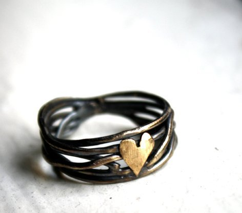 Supermarket - Nested Heart Ring in Sterling Silver from Rachel Pfeffer Designs