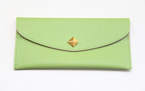 Pale Green Leather wallet with golden pyramid by Pikamo on Etsy