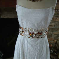 Wedding dress informal embroidered cotton by RetroVintageWeddings