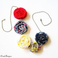 Patriotic Fabric Flower Rosette Necklace  by VintageOoakDesigns