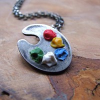 $65.00 Artist's paint palette necklace by PeculiarForest on Etsy