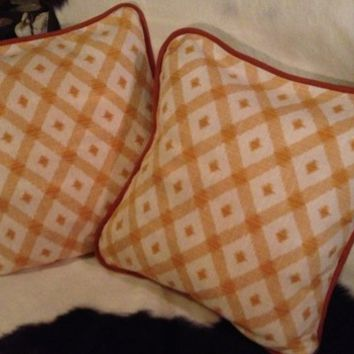 Diamond Geometric Designed 18 Inch Yellow Orange Saffron Pillow Covers