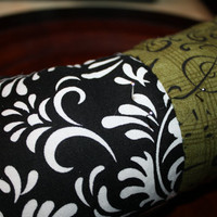 Olive Music and Black Floral Noir Pincushion by CrimsonRoadCrafts