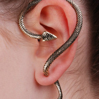 Long Silver Snake Stud Earring by NiceStuds on Etsy