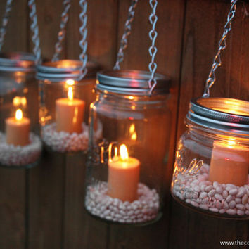 $28.00 Mason Jar Lanterns Hanging Tea Light by TheCountryBarrel on Etsy