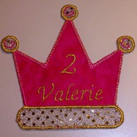 Hot pink and gold metallic crown applique iron on patch personalized | UniqueEmbroideries - Accessories on ArtFire