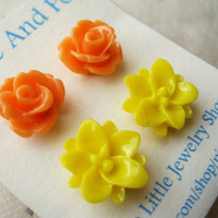 Flower Stud Earrings Citrus Set by PiggleAndPop