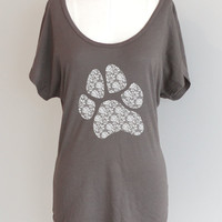 Lace Paw Print Dolman Sleeve Eco Friendly Pima Modal by ShopRIC