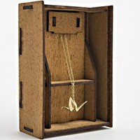 Origami Crane Necklace - gold