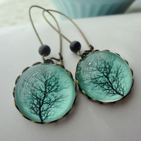 Aqua Winter Tree Earrings Black Branches Gift by WearitoutJewelz