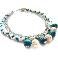 Medium Necklace in Turquoise Fabric Braid with by NOTONbyRaquel