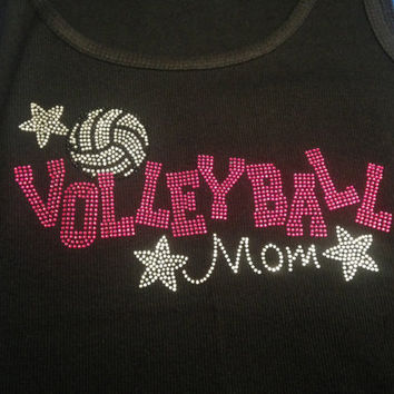 Volleyball Mom, Aunt, Sister, Grandma (Customizable) Rhinestone Tank Top