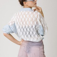 Lace Denim Shirt by Chic+ - Long Sleeve - Tops - Retro, Indie and Unique Fashion