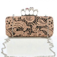 Lace Clutch with Skull Ring Closure