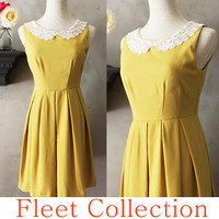ETIQUETTE in Mustard  Vintage Inspired Dress in by FleetCollection