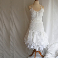 $302.02 Fairy Wedding Dress Upcycled Clothing Tattered Romantic by cutrag