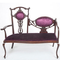 Magnificent Edwardian Gothic Loveseat | Traditionally Upholstered by The Unique Seat Company