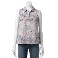 LC Lauren Conrad Floral Pintuck Top - Women's