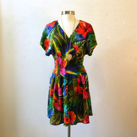 80s Tropical Dress / Floral Dress / Summer by ChronologieVintage