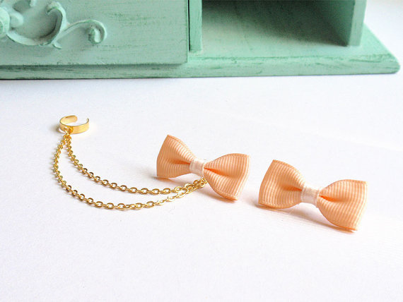 Peach Ribbon Bow Double Gold Chain Ear Cuff Pair
