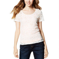 Lacy Short-Sleeve Top -