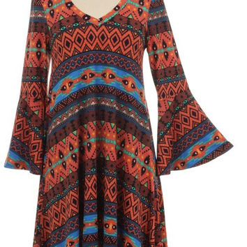 70s Inspired Bell Sleeve Dress Tribal Aztec Asymmetric Dress Hippie Tumblr
