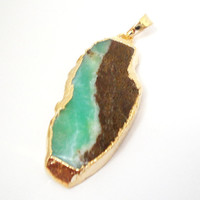 Chrysoprase Mint Green Long Flat Pendant,  Chrysoprase Smooth Surface Gold Dipped  With Loop Teardrop