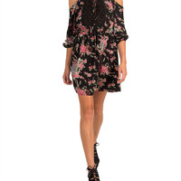 Cold Shoulder 3/4 Sleeve Floral Dress