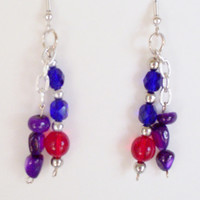 Earrings, Red and Purple Beaded Dangle Earring, Handmade Jewelry, Red Hat Jewelry