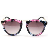 RHX Fashion Women Vintage Retro Round Circle Frame Floral Silver Metal Sunglasses
