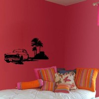 Wall Vinyl Decal Car on Beach Living Room Cabinet Art Decor Removable Stylish Sticker Mural Unique Design for Any Room 302
