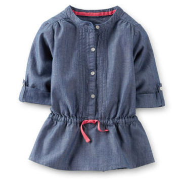 Chambray 3/4-Sleeve Pintuck Tunic