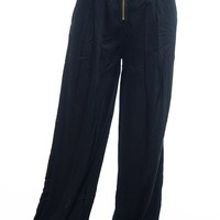 Zip Ahead High Waist Palazzo Pants - Black
