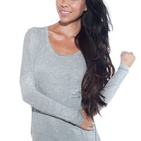 Let the Beat Drop Drop Sleeve Top - Gray